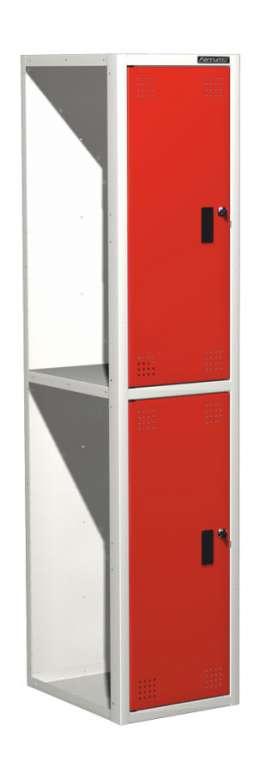 Шкаф для одежды универсальный – две ячейки (ширина секции 380 мм), дополнительная секция