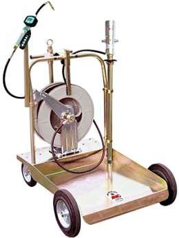 1763 Тележка с пневматическим насосом 3:1 для раздачи масла из бочек 180/220 л (с электронным расходомером и катушкой со шлангом 15 м)
